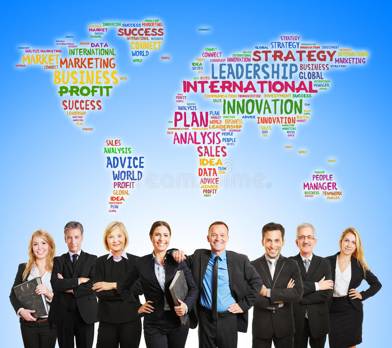 International corporate team and world map royalty free stock photos