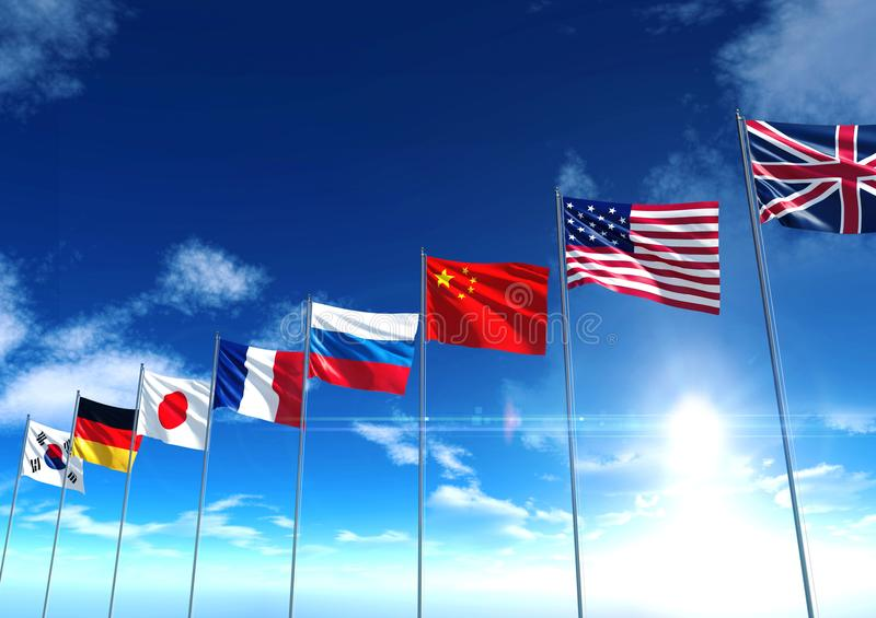 International country flags under blue sky royalty free stock photos