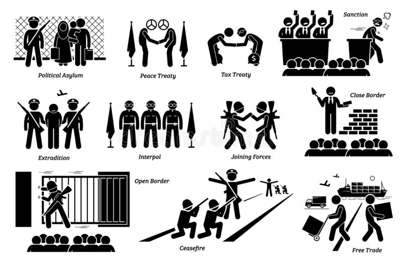 International country treaties, laws, and agreements cliparts. Artwork depicts political asylum, peace and tax treaty, sanction, extradition, interpol, allies vector illustration