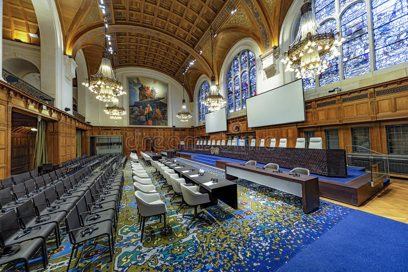 International Court of Justice Courtroom stock image