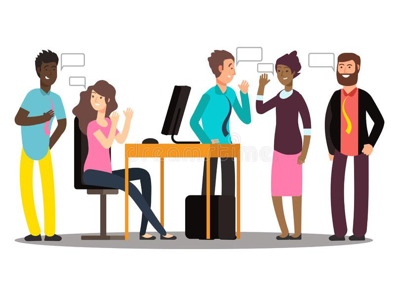 International creative team have conversation. Businesspeople at work vector illustration. Business conversation and discussion, talking and speech, corporate royalty free illustration