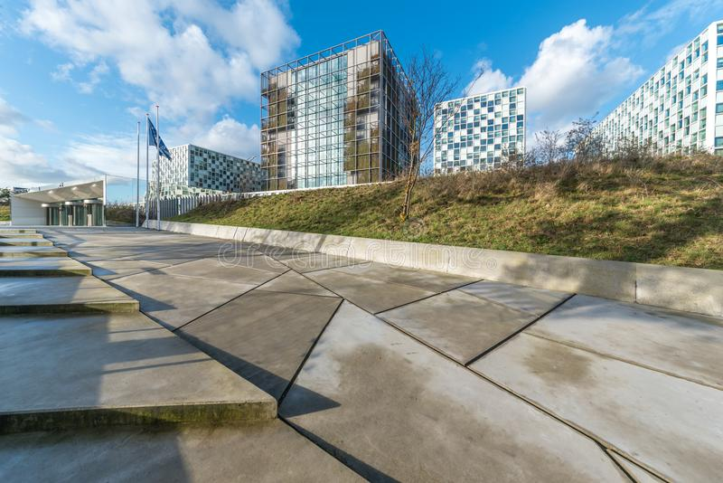International criminal court new premises. THE HAGUE, 24 November 2017 - Building of the International Criminal Court under a clear and blue cloudy sky royalty free stock photography
