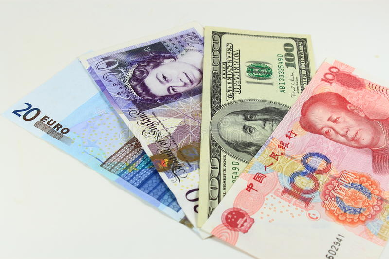 International Currencies. In the world, Chinese Yuan, US Dollar, British Pound, and Euro royalty free stock photography