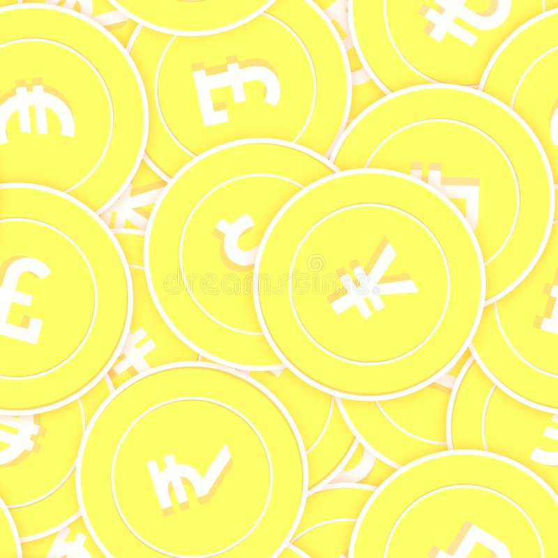 International currencies gold coins seamless patte. Rn. Vibrant scattered yellow Global coins. Success concept. World money pattern. Coin vector illustration stock illustration