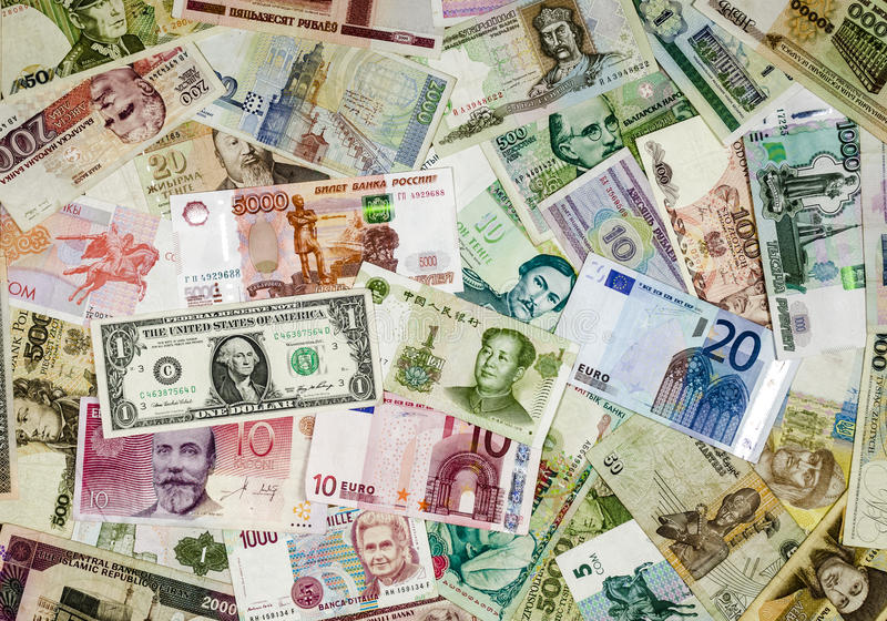 International currency. Mixed banknotes of international currency