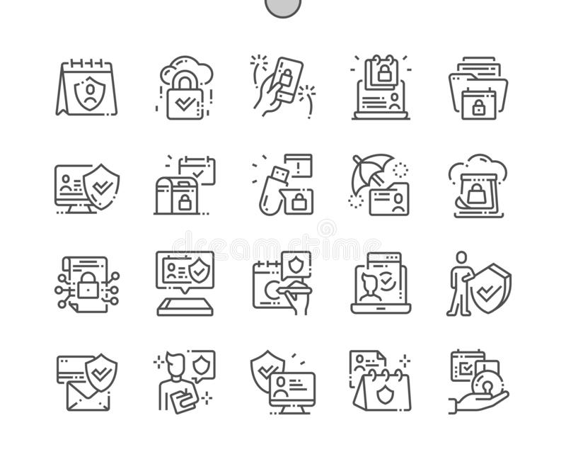 International Data Protection Day Well-crafted Pixel Perfect Vector Thin Line Icons 30 2x Grid for Web Graphics and Apps stock illustration