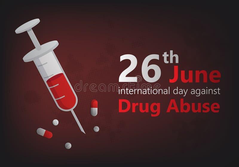 International day against drug abuse banner vector stock illustration