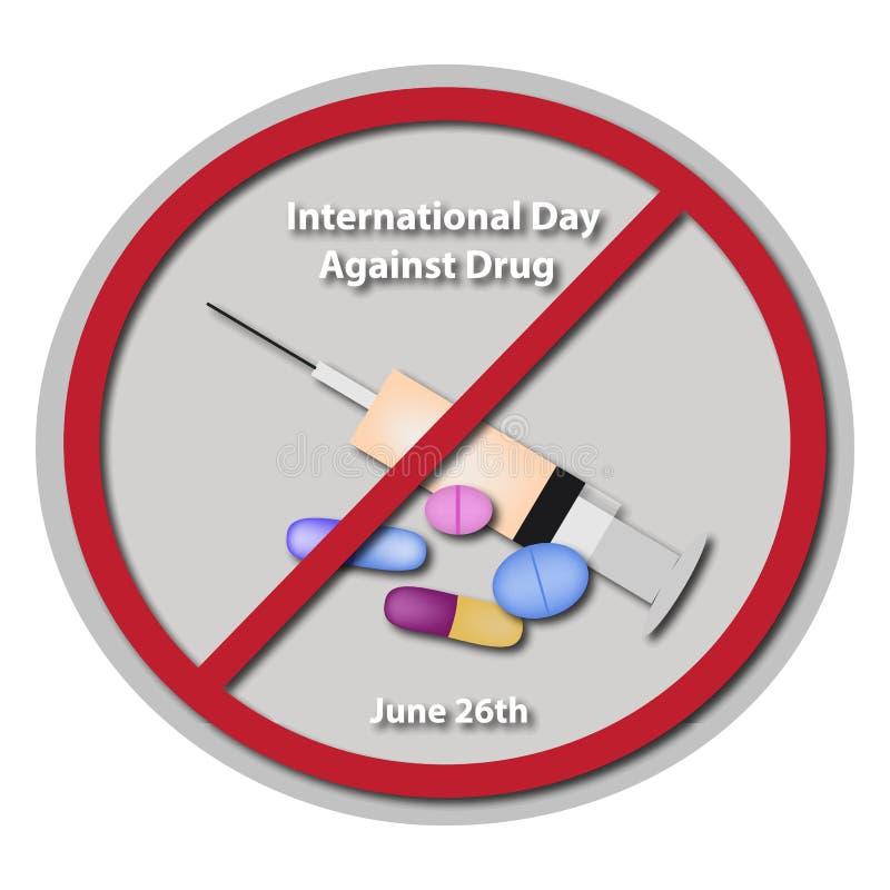 International Day Against Drug Abuse. 26 June. royalty free illustration