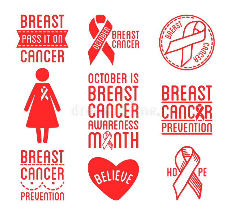 International Day of Breast Cancer Awareness. Set of vector ribbons and badges. Symbols of hope, charity and support. Black design elements. Vector royalty free illustration