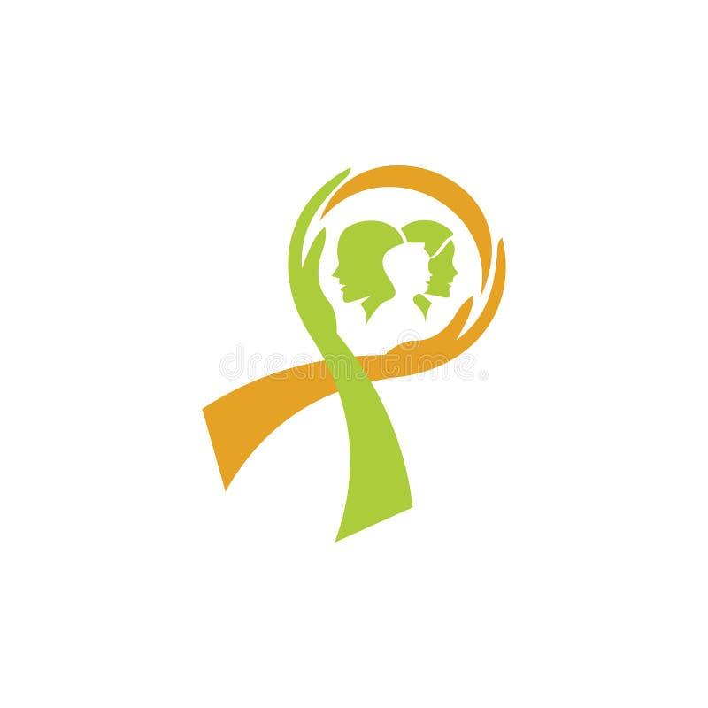 Cancer care logo design template. International Day of Breast Cancer Awareness - vector design. Hope for a cure. Pink ribbon sign. Design elements vector illustration
