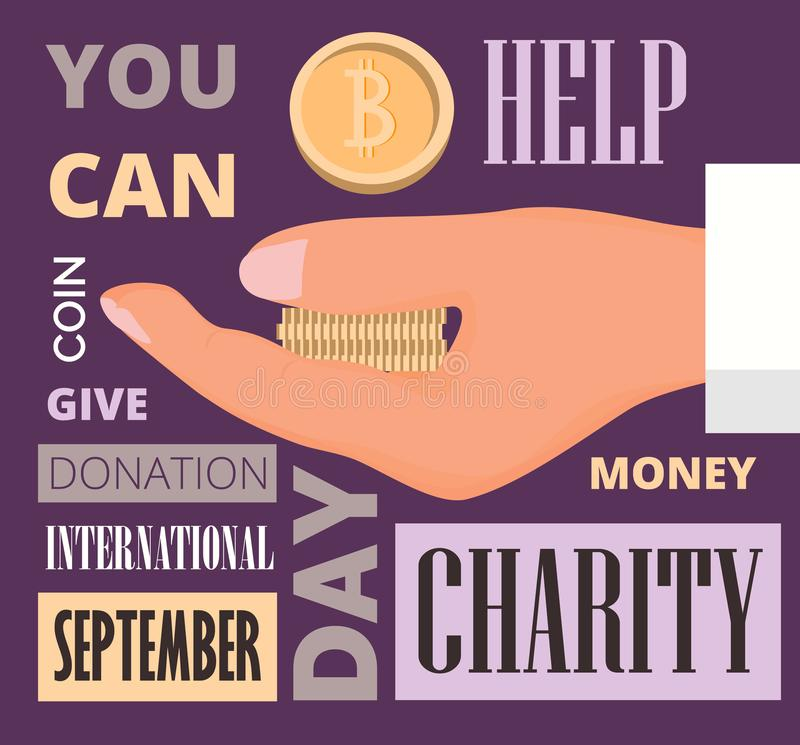 International Day of Charity celebrated in 5th September in world. Hand with coins in retro style vector illustration