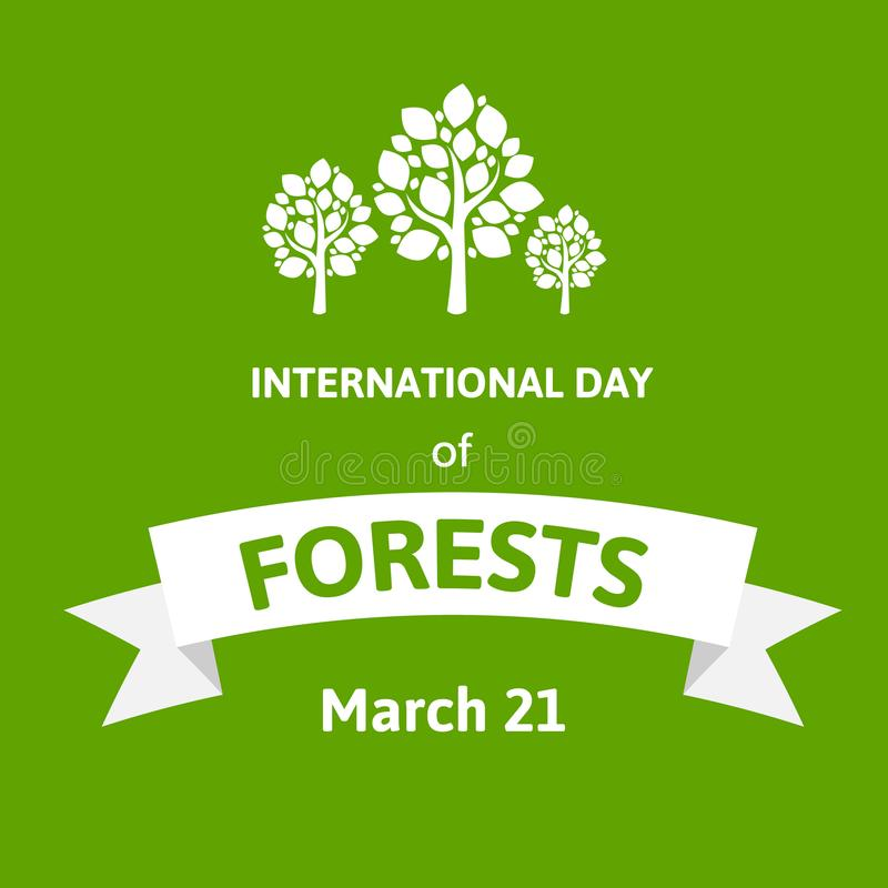 International Day of Forests. Vector illustration greeting card with tree. Flat style design with white trees on green. stock illustration
