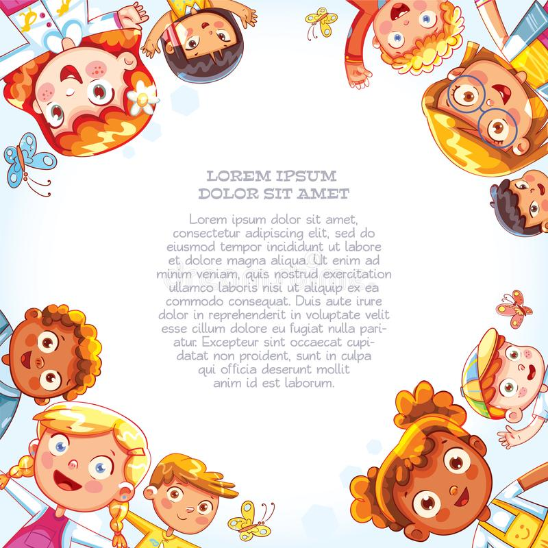 International Day of friends background. International friendship day. Multicultural kids in the circle. Group of happy children waving at the camera. View of a vector illustration