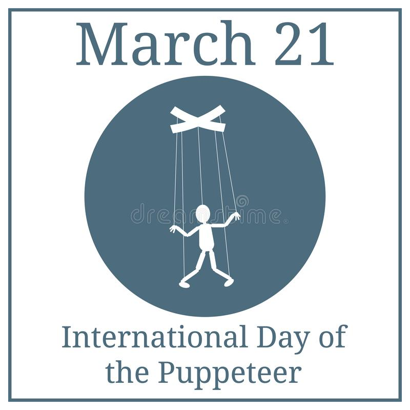 International Day of the Puppeteer. Puppet icon. The concept of management, manipulation. Vector illustration for your design. royalty free illustration