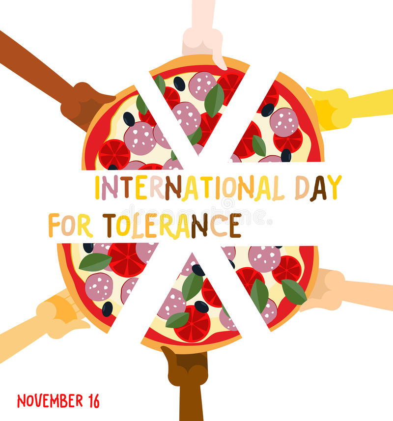 International Day for Tolerance. 16 November. Hands of different stock illustration