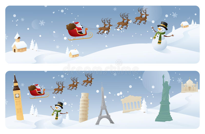 International Delivery Banners. Santa's travels by sleigh - web banners royalty free illustration