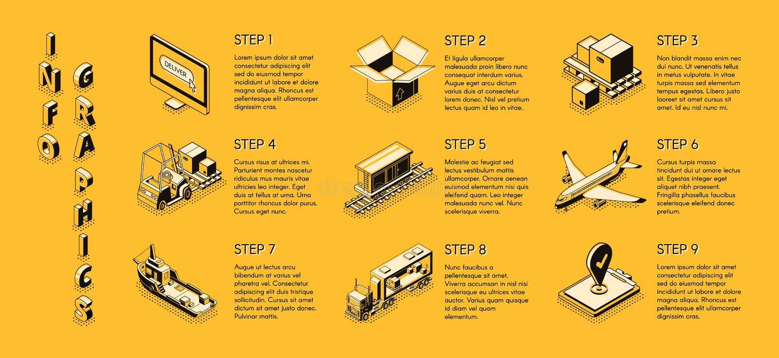 Delivery company isometric vector infographics vector illustration