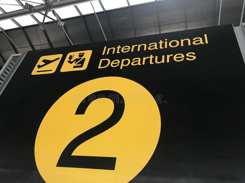 International Departure sign board terminal 2 stock photo
