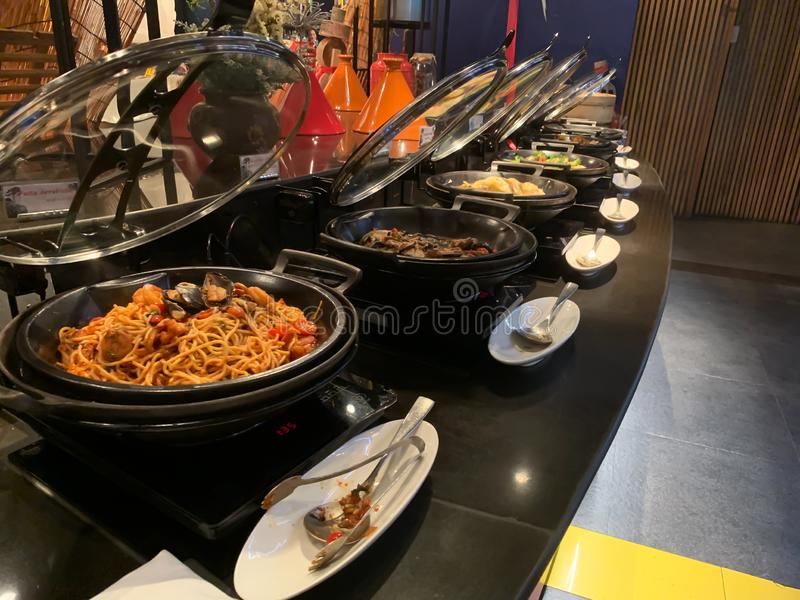 International dinner buffet background royalty free stock image