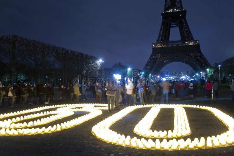 International Earth Hour Celebration, Paris, royalty free stock images