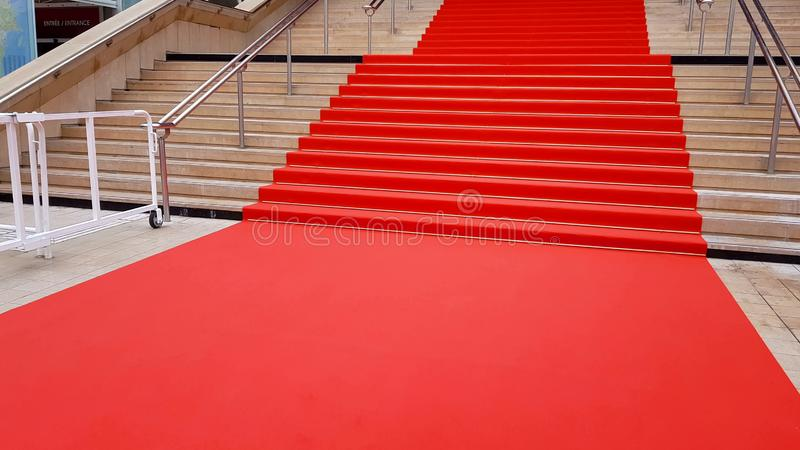 International event for famous people, red carpet on stairs, ceremony entrance. Stock photo royalty free stock image