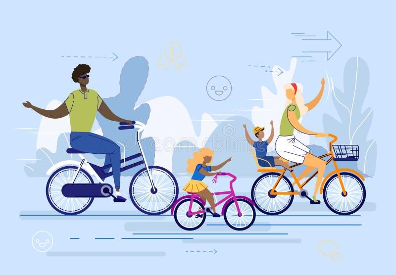 International Family, Couple with Kids Ride Bikes. stock illustration