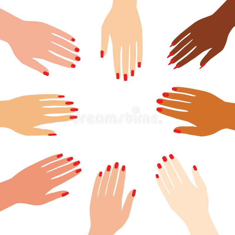 International female hands folded in the center. Woman arm with manicure and red nail polish for girl power concept. Vector stock illustration