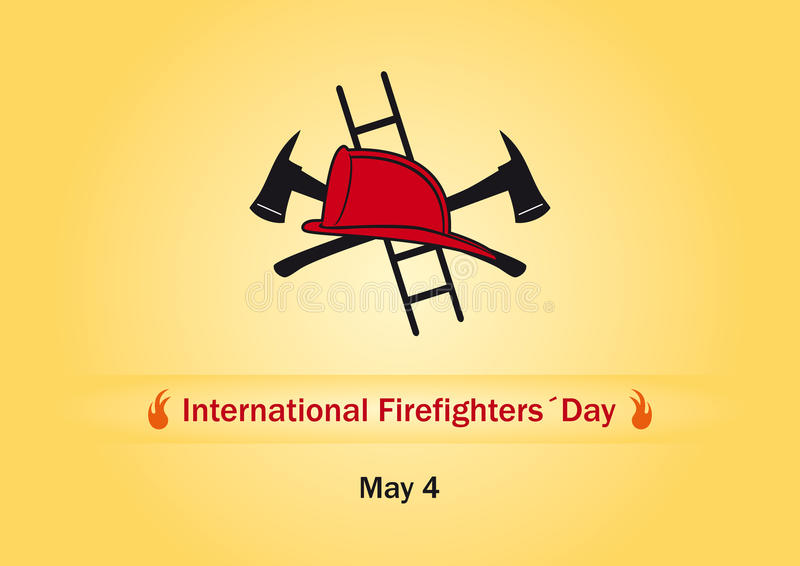 International Firefighters Day. Vector illustration Firefighters Day. Orange background with fire fighting equipment royalty free illustration
