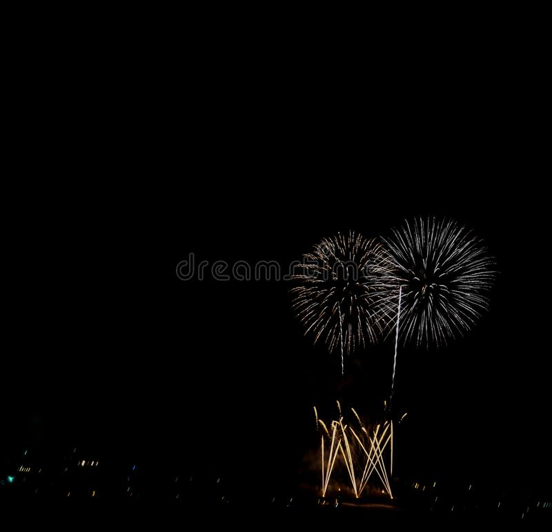 International Fireworks Competition of the city of Tarragona. You can see some wonderful fireworks from the international fireworks competition of the city of royalty free stock photo