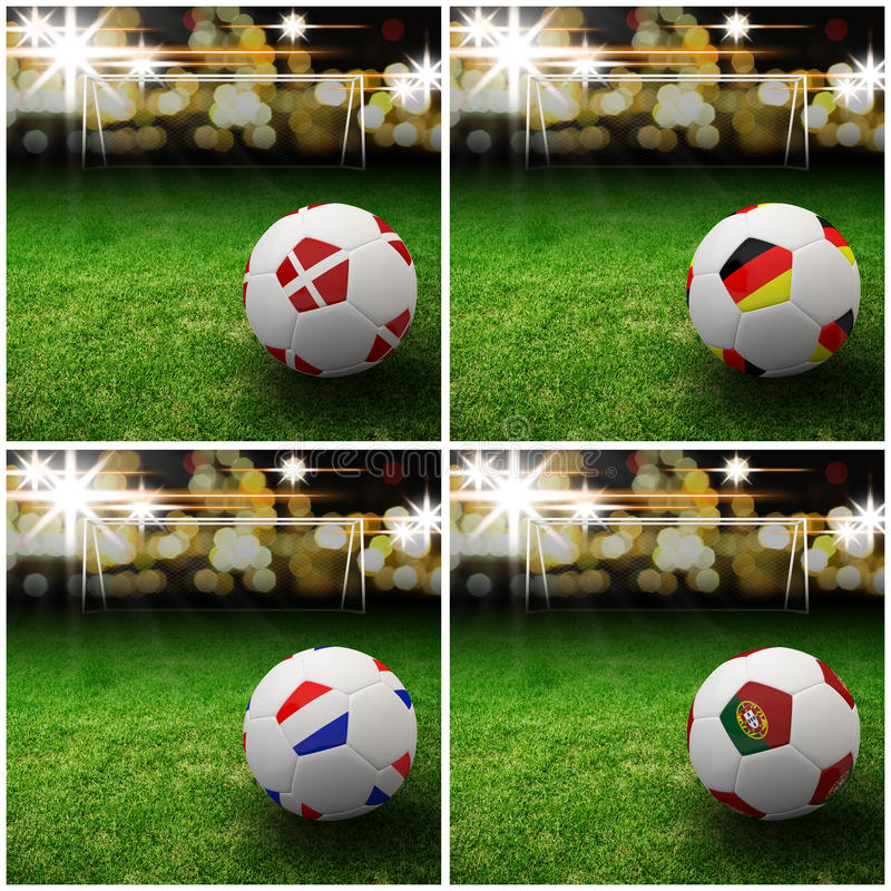 International Flag On 3d Football Royalty Free Stock Images