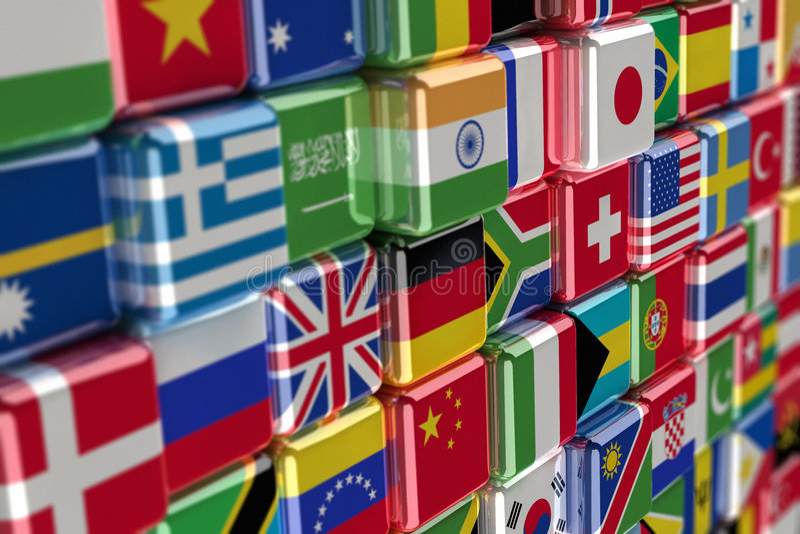 International flag-cubes royalty free illustration