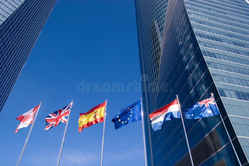 International Flags. Blowing in the wind royalty free stock images