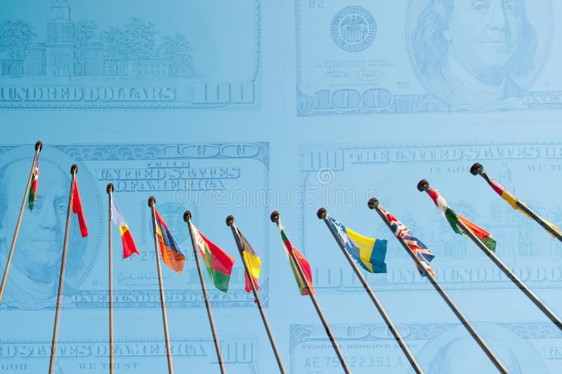 International Flags against background from dollars usa Double e vector illustration