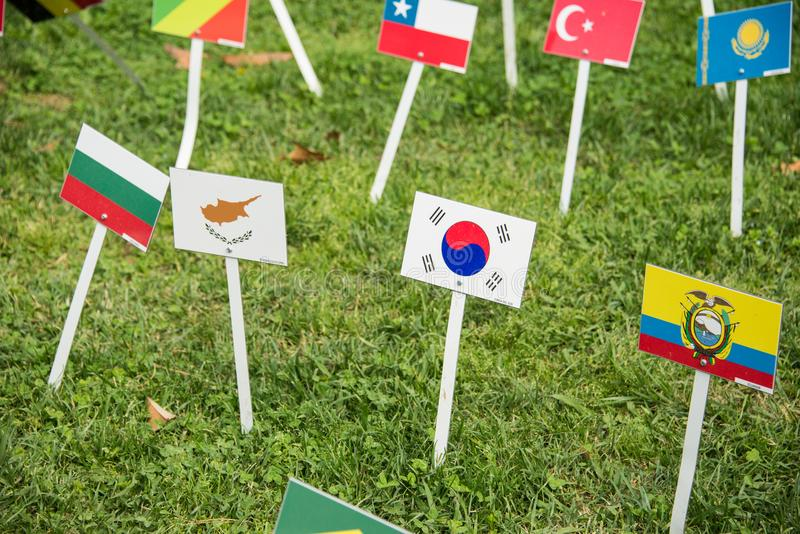 International flags from all over the world all togethrt stock photography