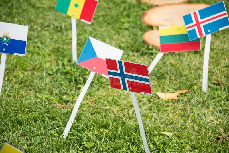 International flags from all over the world all togethrt stock photos