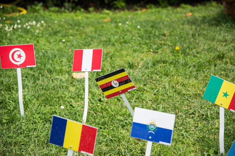 International flags from all over the world all togethrt stock image