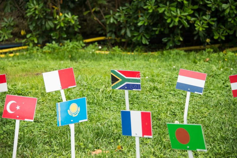 International flags from all over the world all togethrt stock photo