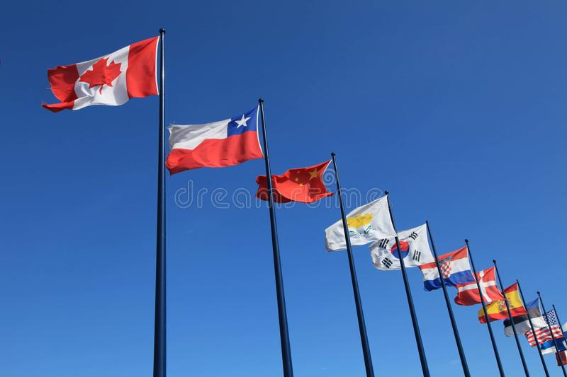 International Flags On Sky Background Stock Photography