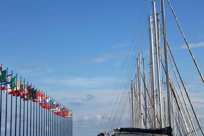 International Flags On Sky Background Royalty Free Stock Photography
