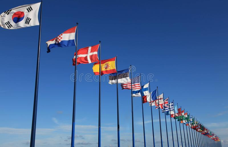 Download International Flags On Sky Background Stock Image - Image: 36118539