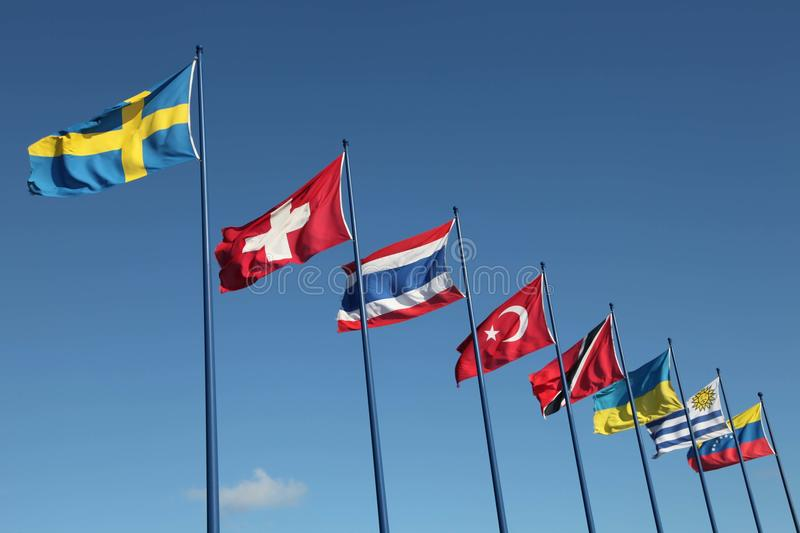 Download International Flags On Sky Background Stock Photo - Image: 36118576