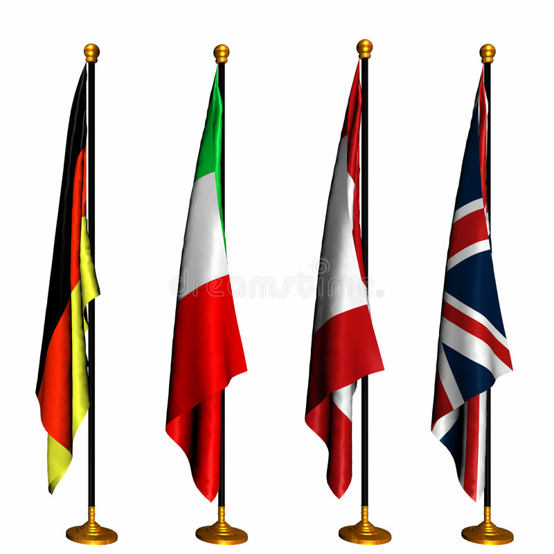Download International Flags On Stands 1 Stock Photos - Image: 1414333