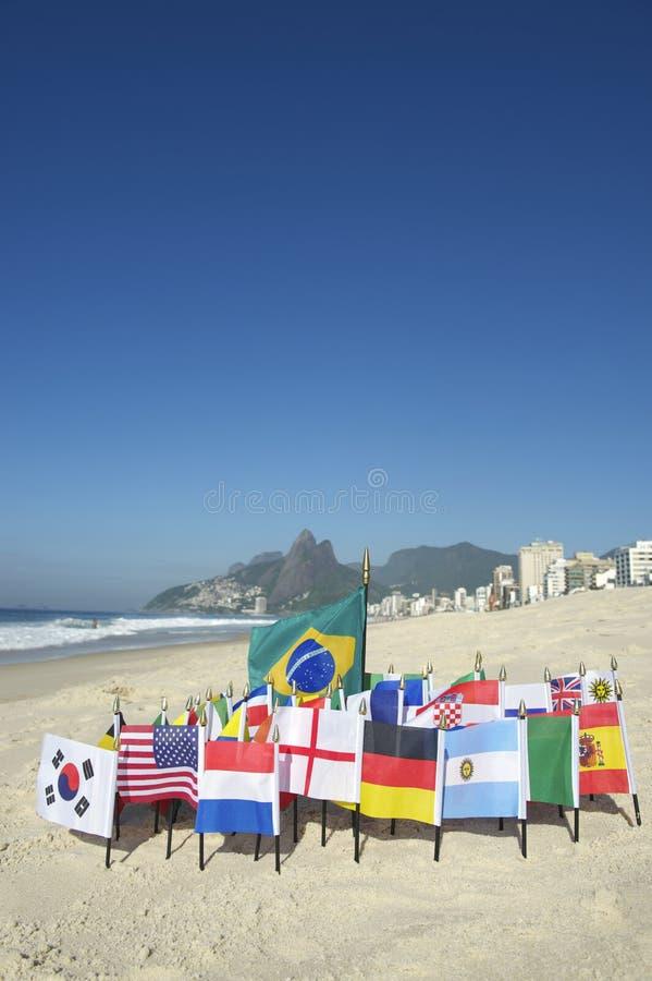 International Football Country Flags Rio de Janeiro Brazil. International football country flags on Ipanema beach in Rio de Janeiro Brazil royalty free stock photo