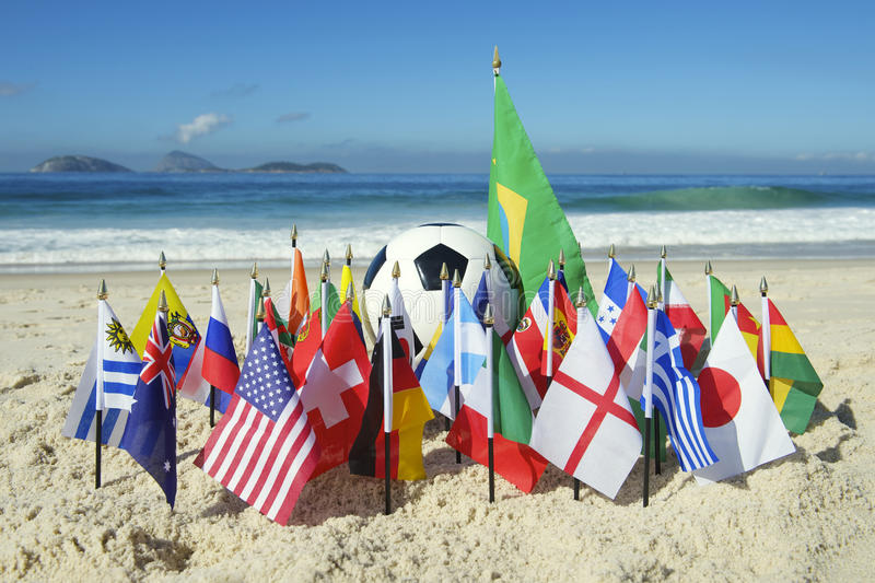 International Football Country Flags Soccer Ball Rio de Janeiro Brazil. International football country team flags with soccer ball on Ipanema beach in Rio de stock image