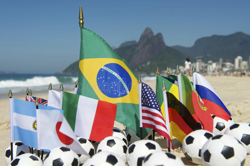 International Football Country Flags Soccer Balls Rio de Janeiro Brazil. International football country flags with soccer balls on Ipanema beach in Rio de stock image