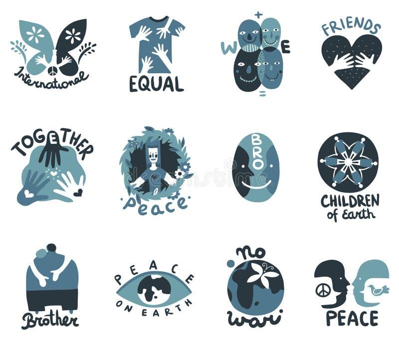 international friendship symbols emblems stock vector