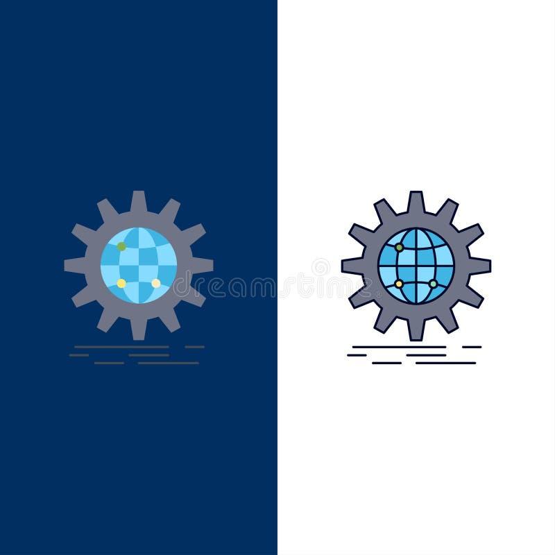 international, Geschäft, Kugel, weltweit, Gang flacher Farbikonen-Vektor stock abbildung