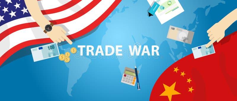 International global da troca do negócio da tarifa de América China da guerra comercial ilustração do vetor
