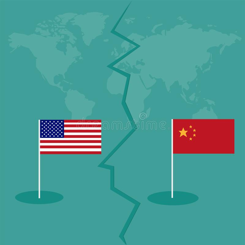 International global del intercambio del negocio de la tarifa de América China de la guerra comercial ilustración del vector