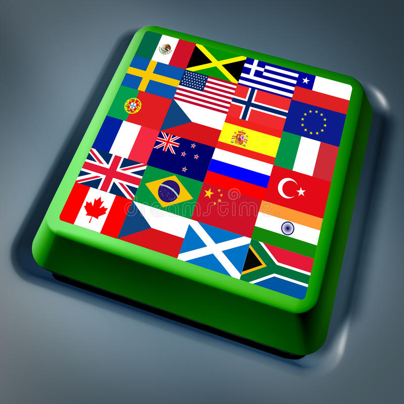 International global flags computer key stock illustration